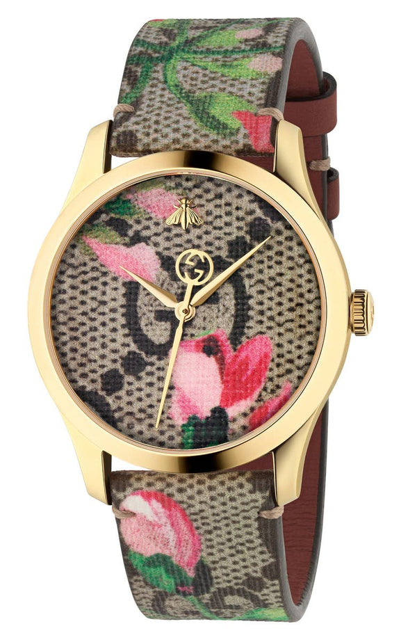 Gucci YA1264038A G-Timeless Floral Print GG Canvas Strap, 38mm Women Watches Lexor Miami