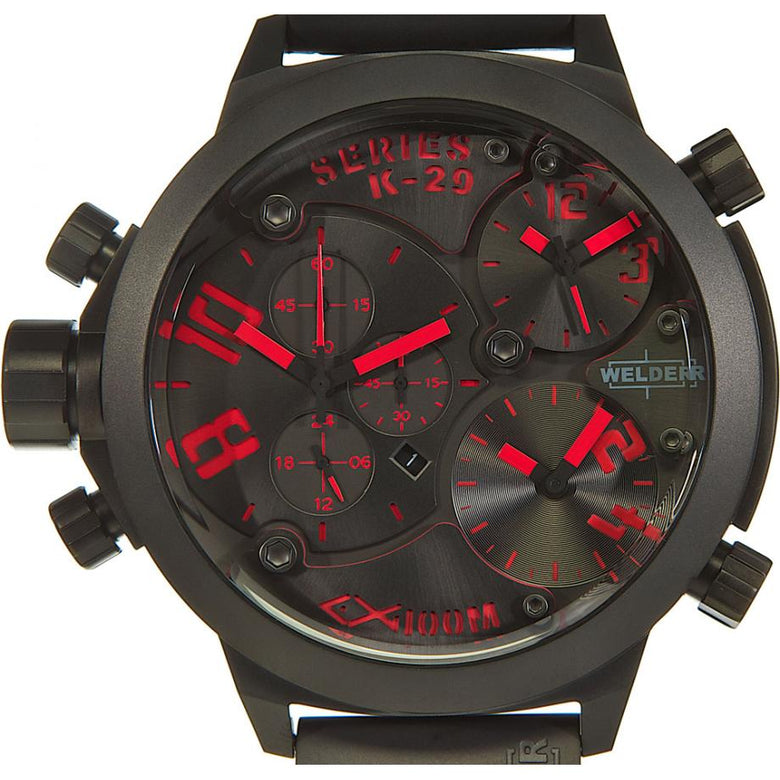 Welder K29-8002 Quartz with Black Dial Chronograph Display and Black Rubber Men Watches Lexor Miami