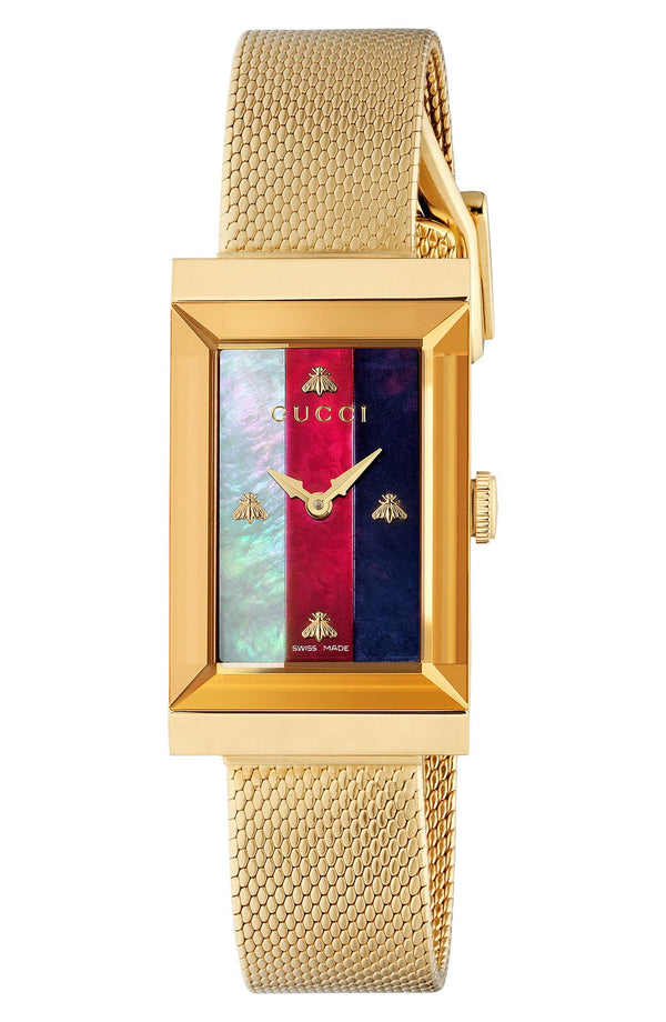 Gucci YA147410 G-Frame Gold Mesh Strap Women Watches