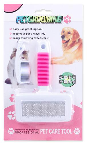 Non-slip Dog Comb Stainless Steel For Hair Fur Removal Cleaning Dog Cat Use Grooming Combs Brush Tool Soft Handle Pet Supplier
