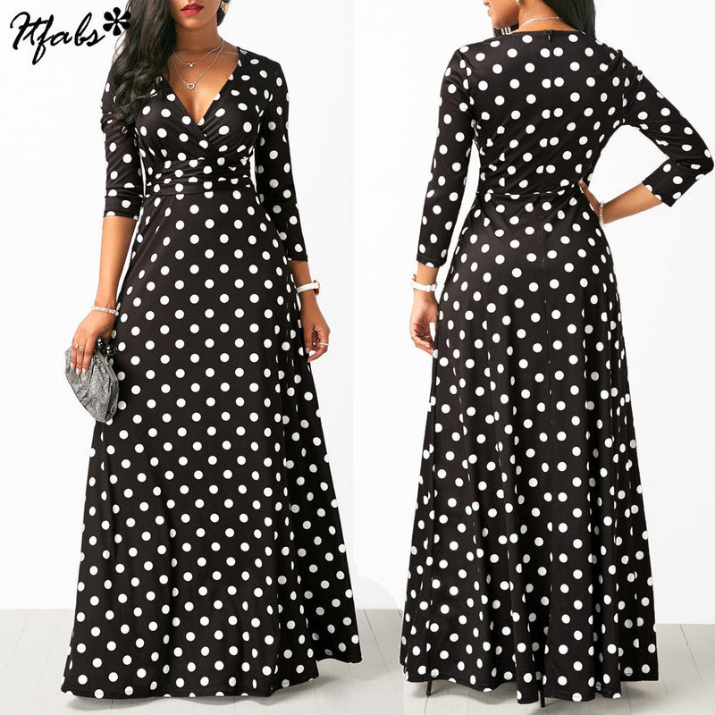 2019 Newest Womens Long Dot Long Sleeve Formal Party Prom Ball Gown Maxi Dress Drop Shipping Supplier