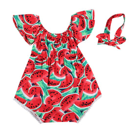 Maximum supplier Baby Bodysuit!!  Newborn Baby Girls Watermelon Print Clothes Ruffles Sleeve Bodysuit +Headband 2pcs Outfits