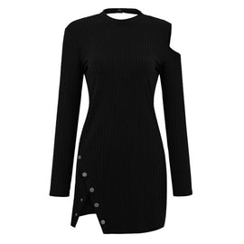 Women Fashion Solid Elegant Hollow Out Button  Slit Vintage Long Sleeve Dress Dropshipping Independent station supplier lovely