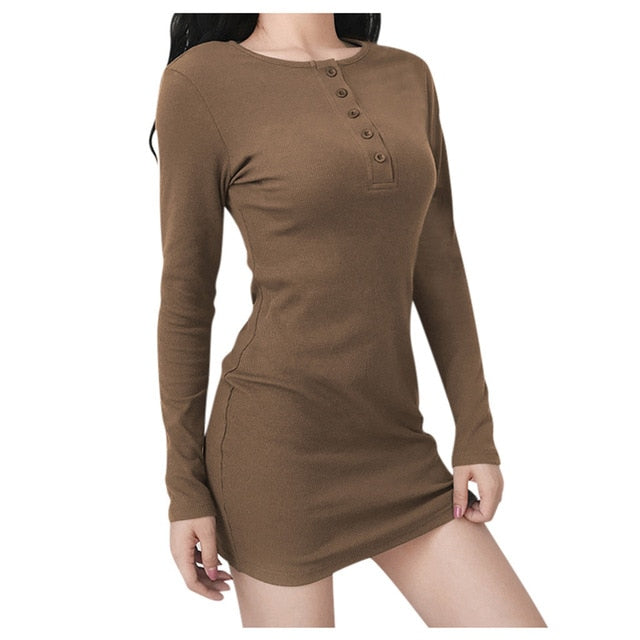 Women Holiday Style Sexy Solid Long Sleeve Casual Mini Dress Dropshipping 2020 winter fashion Retro trend size USA supplier