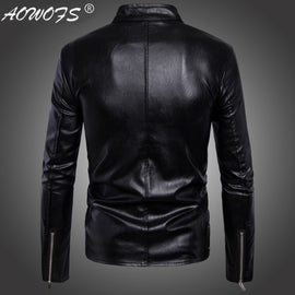 [Code] European  Electricity Supplier Men Locomotive Multi-Zipper MEN'S Leather Jackets Jacket W-21-B015