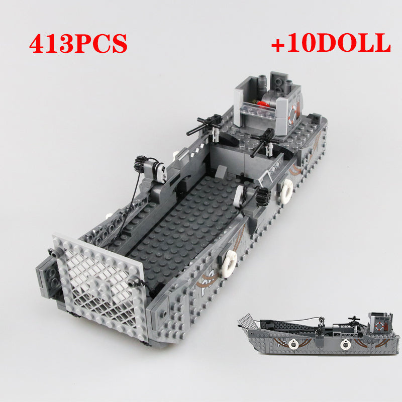WW2 Military USA LCM3 Landing Boat Building Blocks USA Military navy soldiers Figures weapon Bricks Toys For children Gift