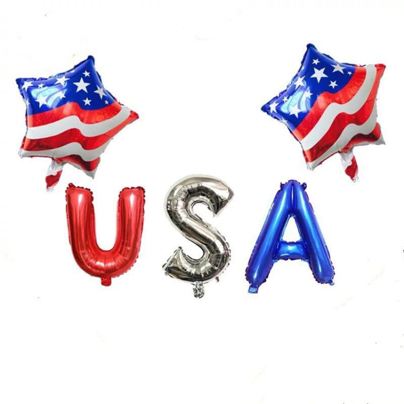 16 inch 18 inch Balloon Star USA Letter Aluminum Foil Balloons For USA Independence Day Decorations Party Decor Suppliers