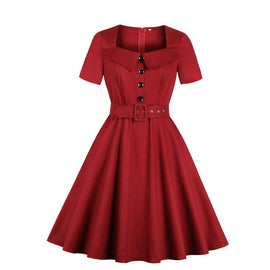 Cross Border Electricity Supplier Hot Selling Amazon Large Size WOMEN'S Short Sleeve Shirt Solid Color Pocket Hepburn Wind Dress