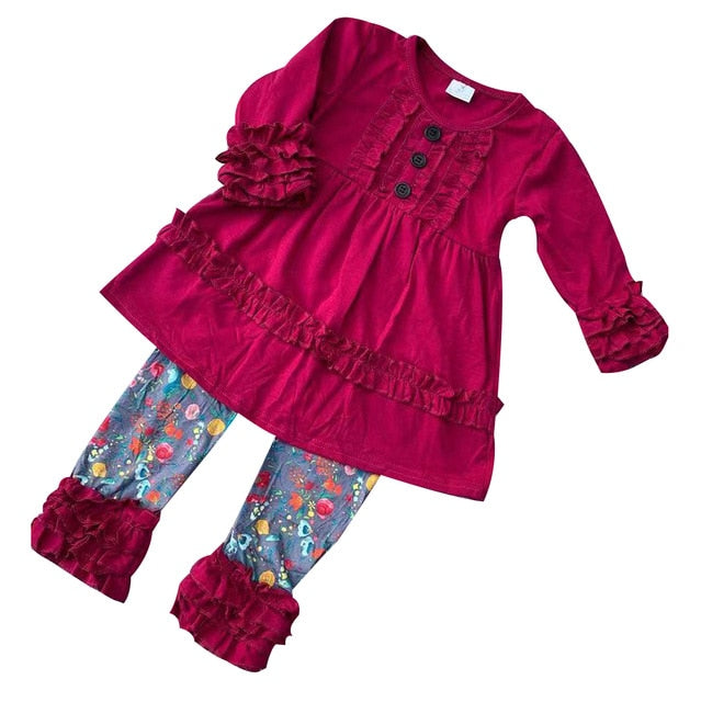 RTS Wholesale Factory Sale Supplier Newborn Baby Clothing Spring Cotton Tunic Top With Floral Pants Boutique Outfit Suit