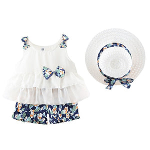 Girls Floral Outfit & Hat Set