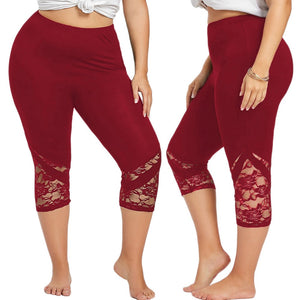 Anna Molace Style Plus Size Women's Active Wear Lace Legging