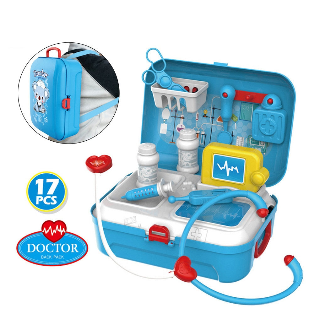 17PCS Classic Children's Pretend Play Doctor Toy Portable Backpack Set