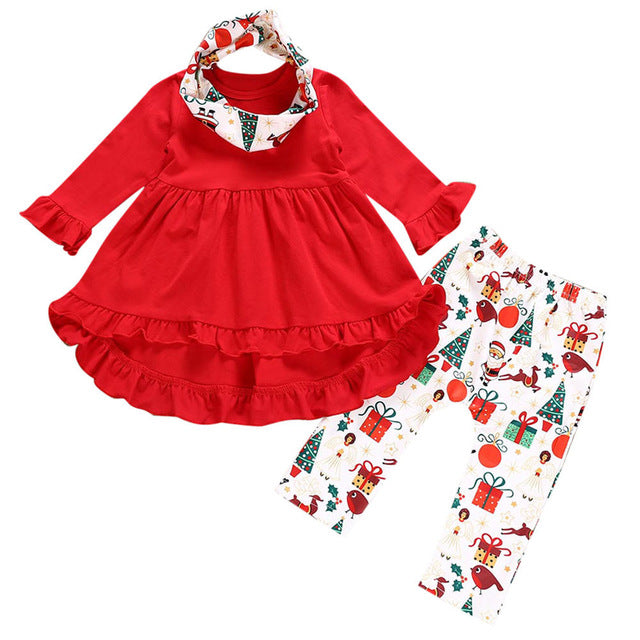 Toddler Baby Girls Clothes Christmas Deers Print Dresses Pants Outfits Clothing