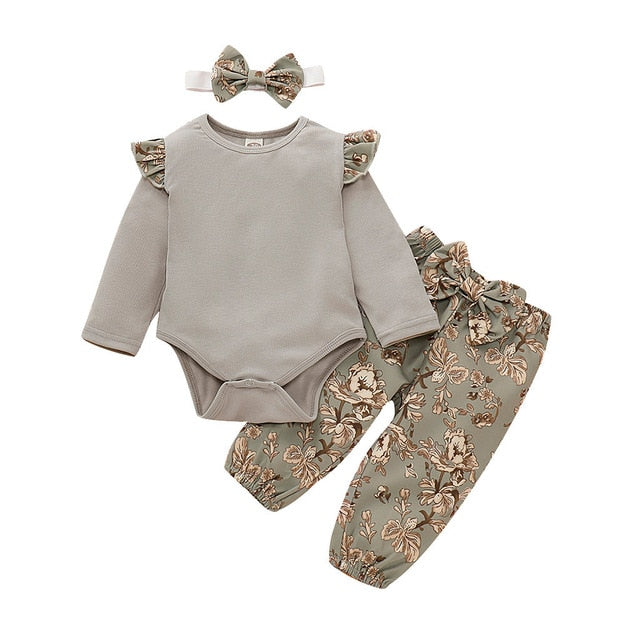 Baby Girl Autumn Pattern Pants & Shirt Outfit w/matching Headband