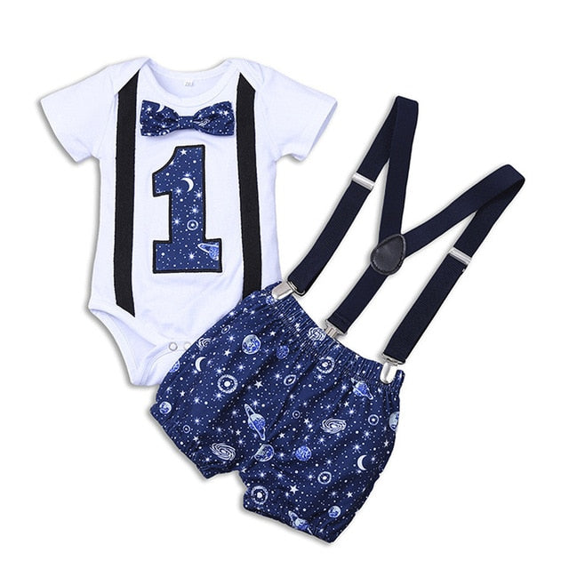 Newborn Baby Boy Outfit with Suspenders