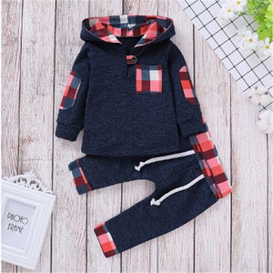 Toddler Boys Plaid Hooded Outfits