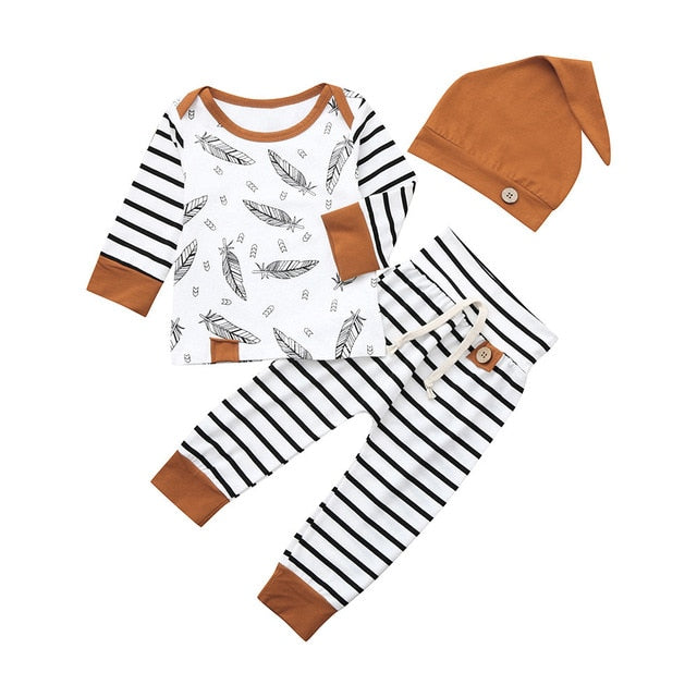 Winter Feather's Baby Boy 3PCs Newborn Clothing