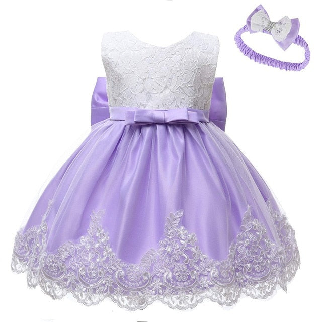 Infant/Baby Girl Lace Bow Formal Event Dress with Bow Headband