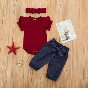 Baby Girl Denim Pants & Shirt Outfit with matching Bow Headband