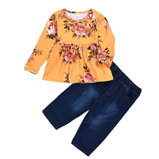 Toddler Girls Flower Shirt & Jeans Denim Pants Outfit