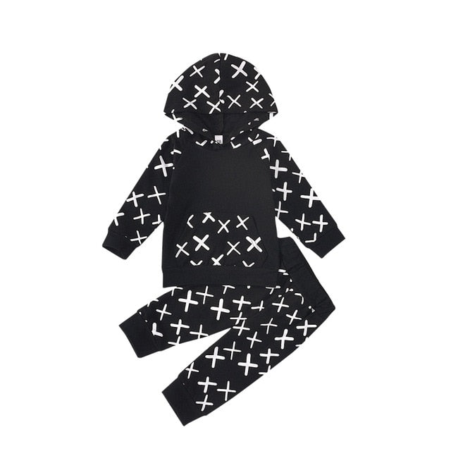 Baby Girls Sporty Black & White Jogging Suit with a Hood