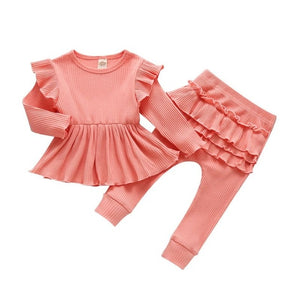 Baby/Toddler Girl Ruffle Shirt & Pants Outfit