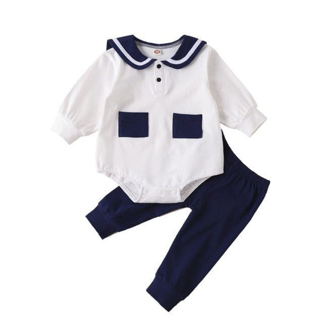 Blue & White Baby Girls Pants Outfit