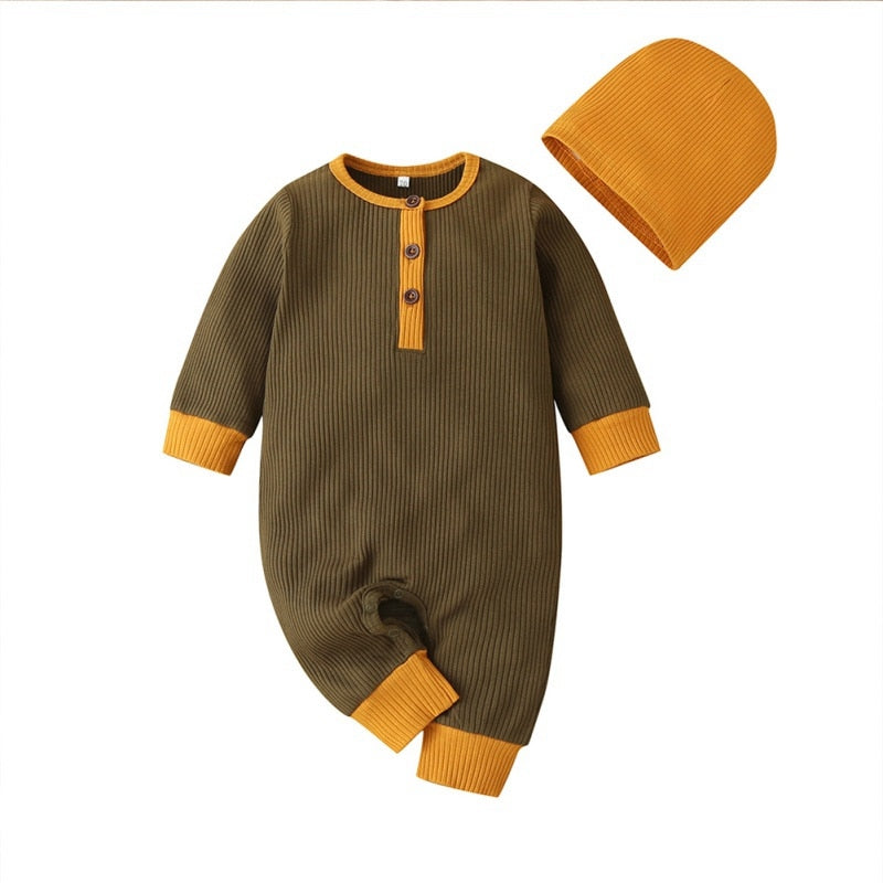 Baby Boys Brown/Orange Jumpsuit with Matching Hat