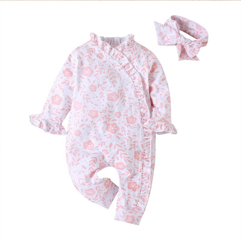 Autumn Baby Girl Long Sleeve Floral Outfit with Matching Headband