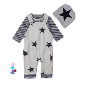 3pcs Newborn Baby Boys Stars & Stripes Outfit