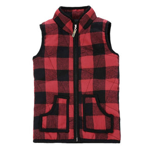 Toddler Girls Plaid Vest Outwear
