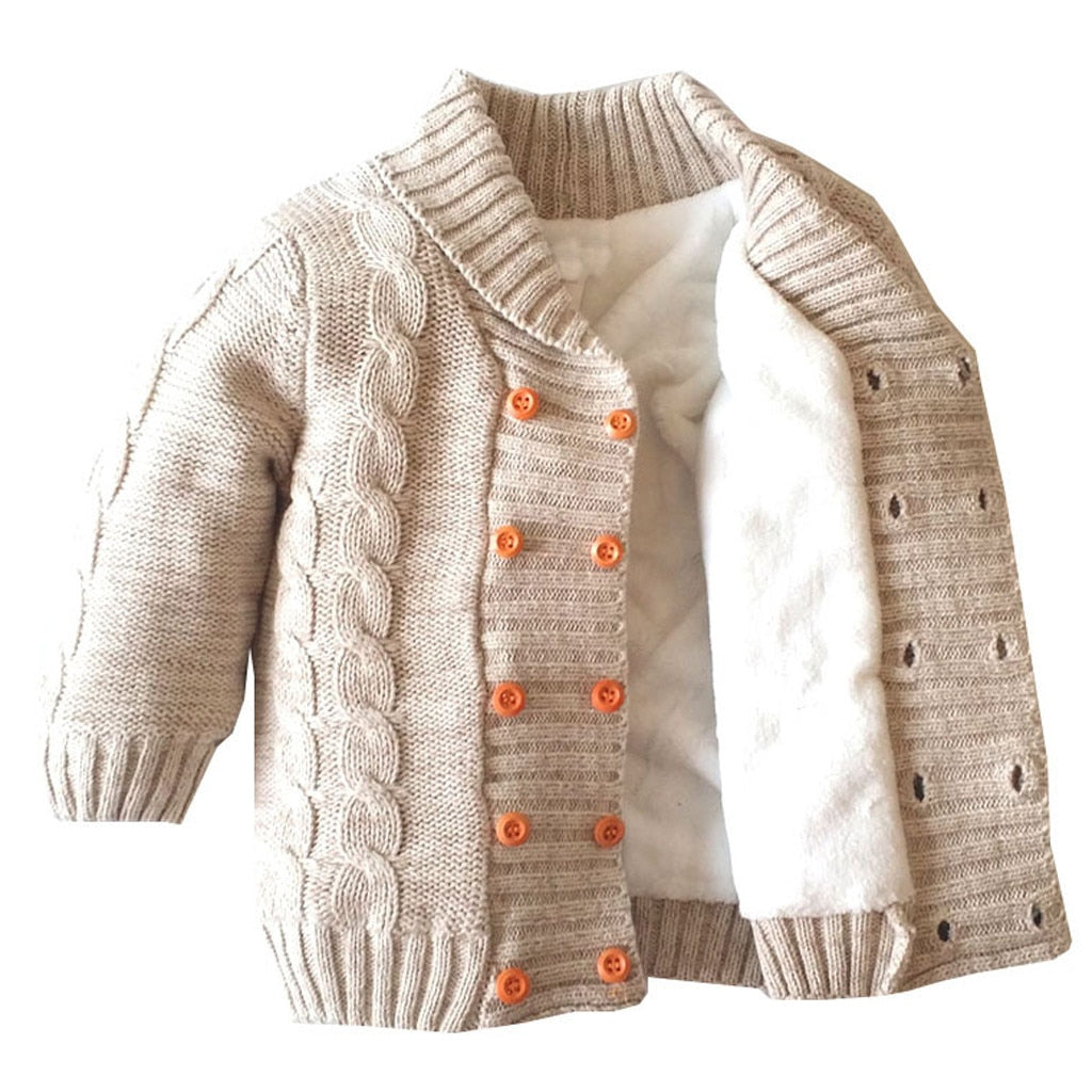 Toddler Boys Knitted Plush Sweater Jacket