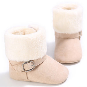 Designer Soft Sole Suede-Style Winter Boots for Infant/Toddler Girls