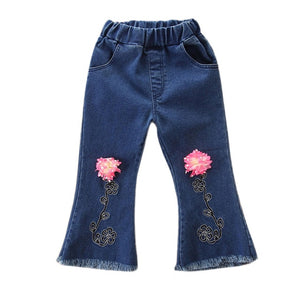 Toddler Girls Flower Design Denim Pants