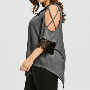 Women's Lace Open-Sleeve V-Neck Blouse (Sizes S-5XL)