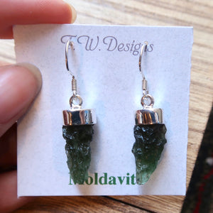 Moldavite Sterling Silver Rough Earrings