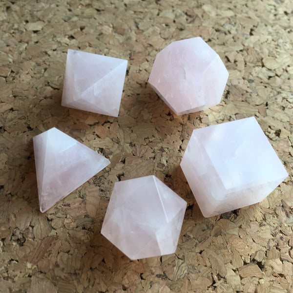 5 Pieces Rose Quartz Platonic Solids Sacred Geometric Set Crystal