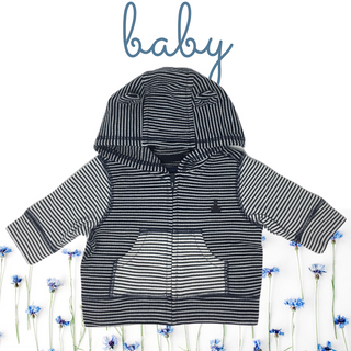 A Navy Blue and White Striped Hoodie with Bear Ears for a Baby
