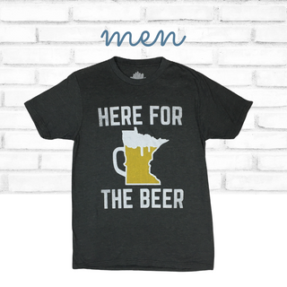 Men's Black T-Shirt with the state of Minnesota featured as a beer mug