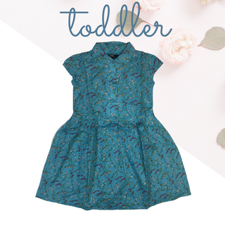 Toddler Girls' Teal Dress with a beautiful purple and cream floral print