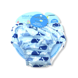 Baby Blue with Whales Reusable Swim Diaper - Crabapple