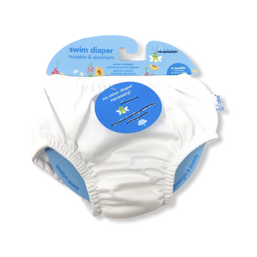 Baby White Reusable Swim Diaper - Crabapple