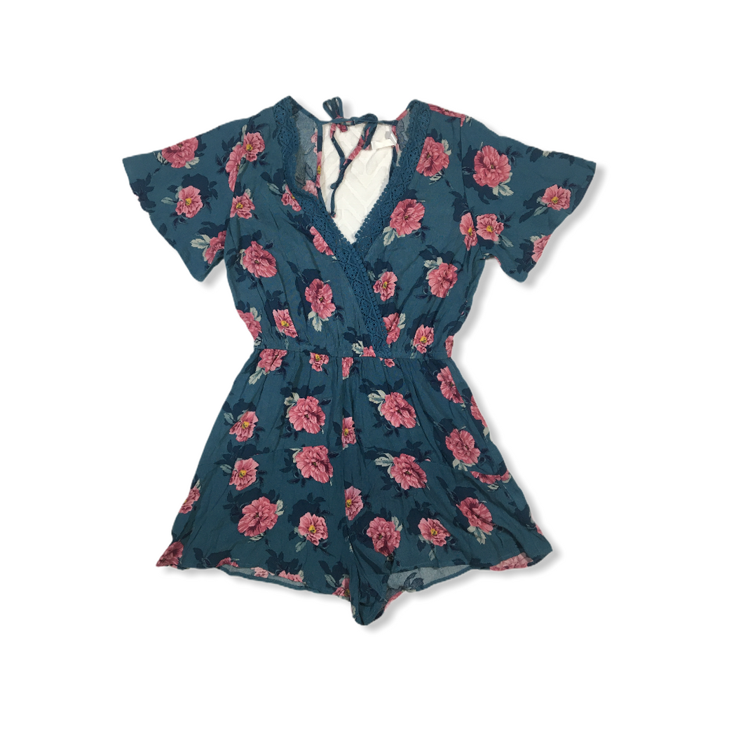 Women's Teal with Pink Floral Dress Romper - Crabapple