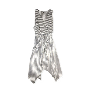 Women's White and Gray Striped Dress - Crabapple