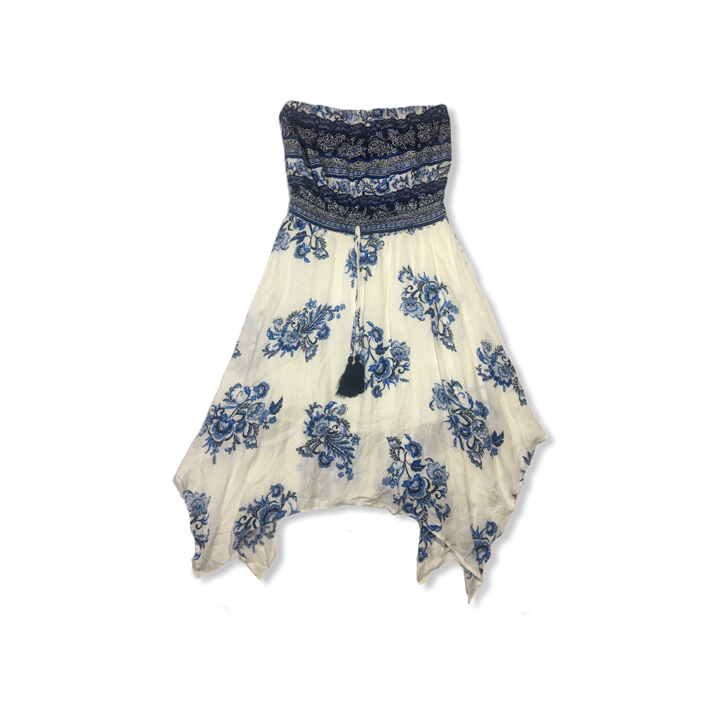 Women's Blue and Cream Floral Sleeveless Dress with Tassels - Crabapple