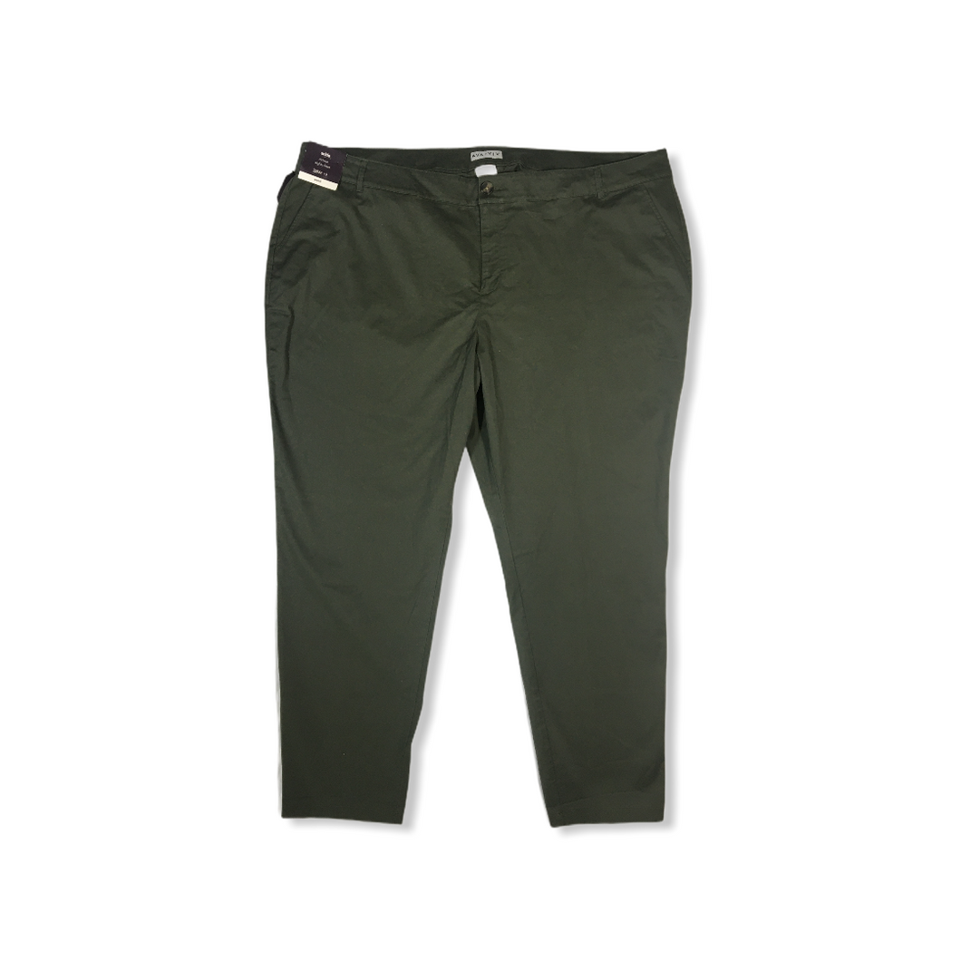 Women's Mid-Rise Slightly Fitted Olive Ankle Pants - Crabapple