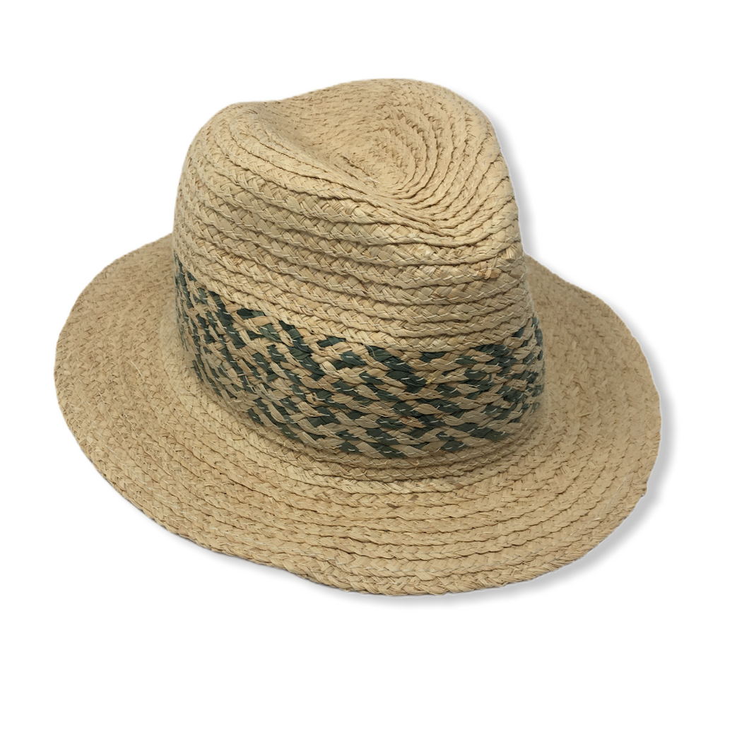 Men's Natural Straw Hat with Green Accents - Crabapple