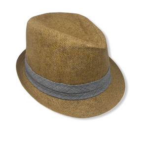 Men's Natural with Grey/Blue Band Fedora - Crabapple
