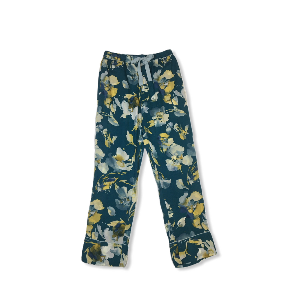Women's Zoom Teal Floral Lightweight Pajama Pants - Crabapple