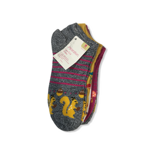 Girls' Low-Cut Socks with Squirrels, Cherries, Porcupines and Owls - 6 Pairs - Crabapple